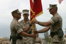 LtCol. Nathan Nastase (L), SgtMaj William Stables (C), LtCol Norm Cooling (R). Marine Corps Base Hawaii. October 2006.