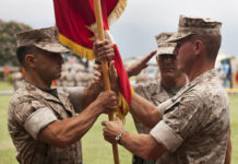 (L-R) Lt. Col. Matthew Palma, Sgt. Maj. Andrew Cece, and Lt. Col. Jeffrey Holt. Marine Corps Base Hawaii. May 2011.