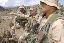 Captain Ken Barr (center). Weapons Company. Khowst Province, Afghanistan. April 2005.
