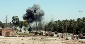 Kilo Marines and EOD detonating an IED in Haqlaniyah, May 2006.