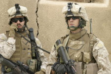 Sergeant David Christoff (L) and Lance Cpl. Connor O'Shea (R), Kilo Company. Haqlaniyah, Iraq. May 10, 2006.