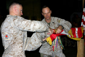 (L-R) LtCol. Norm Cooling and SgtMaj. William Stables. Haditha Dam, Iraq. September 2006.