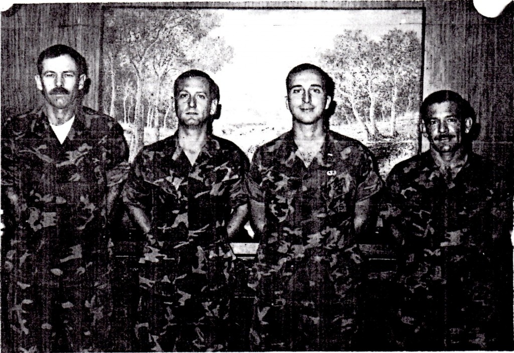 Captain James Mattis (second from left) with his company staff in Kilo Company in 1978. 1st Lieutenant Louis Sposato (second from right) would command 3/3 as a Lieutenant Colonel in the Nineties.