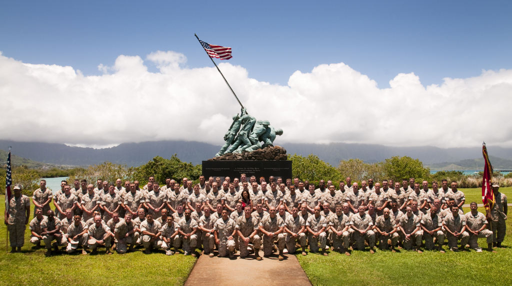 Marines and sailors from the command and staff of 3rd Battalion 3rd Marines aboard Marine Corps Base Hawaii on May 3, 2010. Courtesy: Mark Fayloga